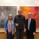 Deputy Consul Irit Stopper, artist Gideon Tomaschoff, CG DJ Schneeweiss — at Julie M. Gallery.